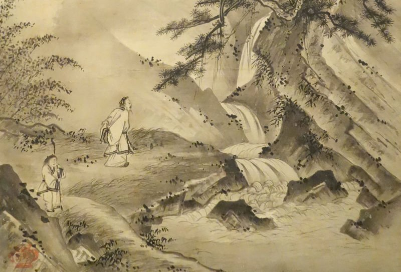 Old Japanese picture showing Zen master and disciple in the mountains