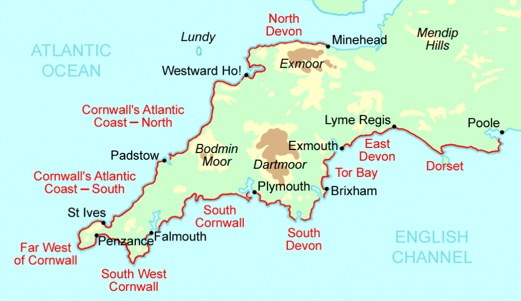 map of Salt Path - The South West Coastal Path in UK
