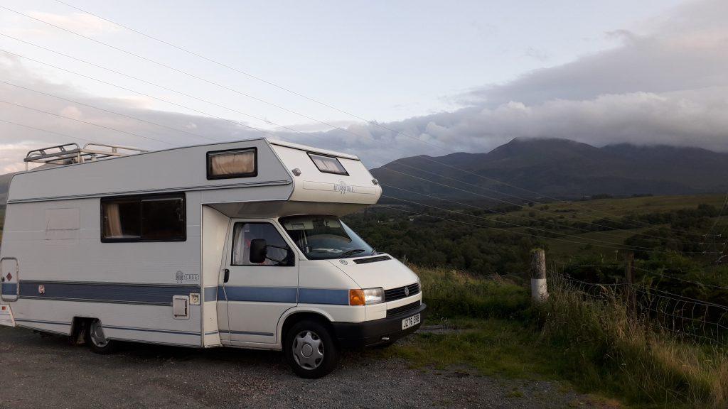 VW motorhome in the Ben Nevis range