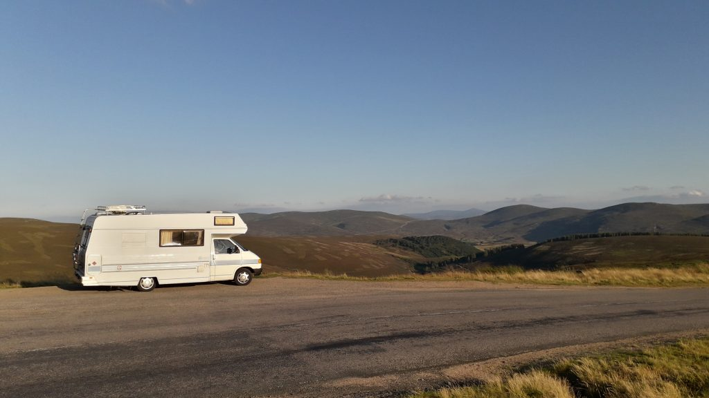VW motorhome in the Cairngorms
