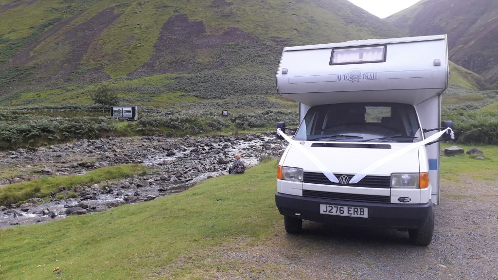 VW motorhome at Grey Mare's Tail, Scotland