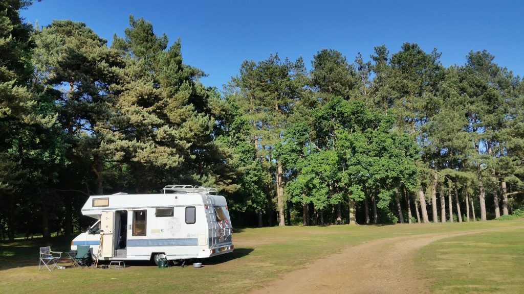 VW motorhome at Rendlesham Forest Camping