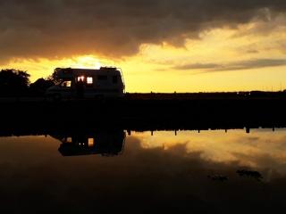 VW T4 motorhome at Walberswick, Suffolk, sunset