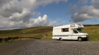 VW motorhome parked on the road to Dent, Cumbria