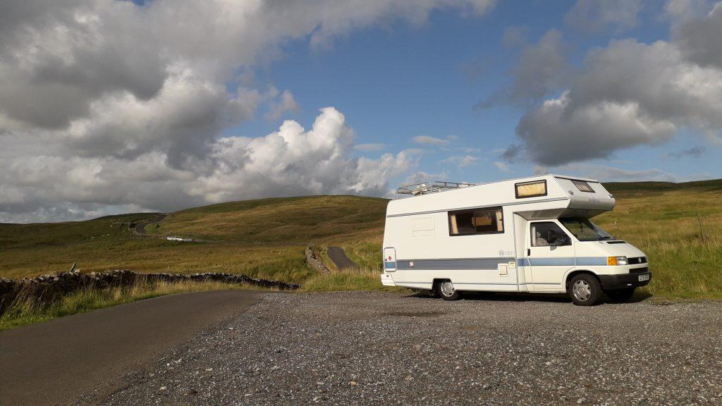 VW motorhome on a road trip