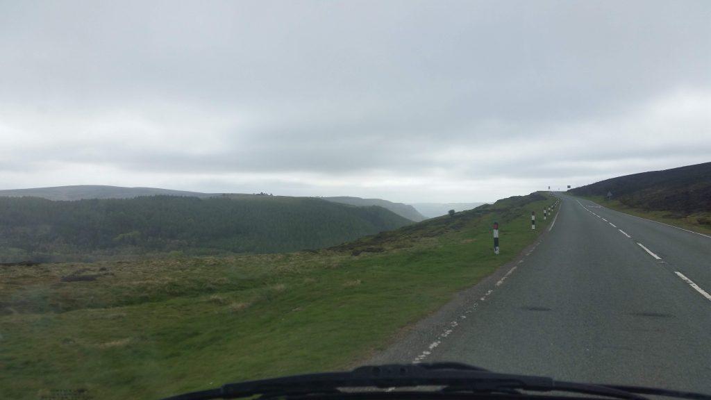 Driving along the Horseshoe Pass, Wales