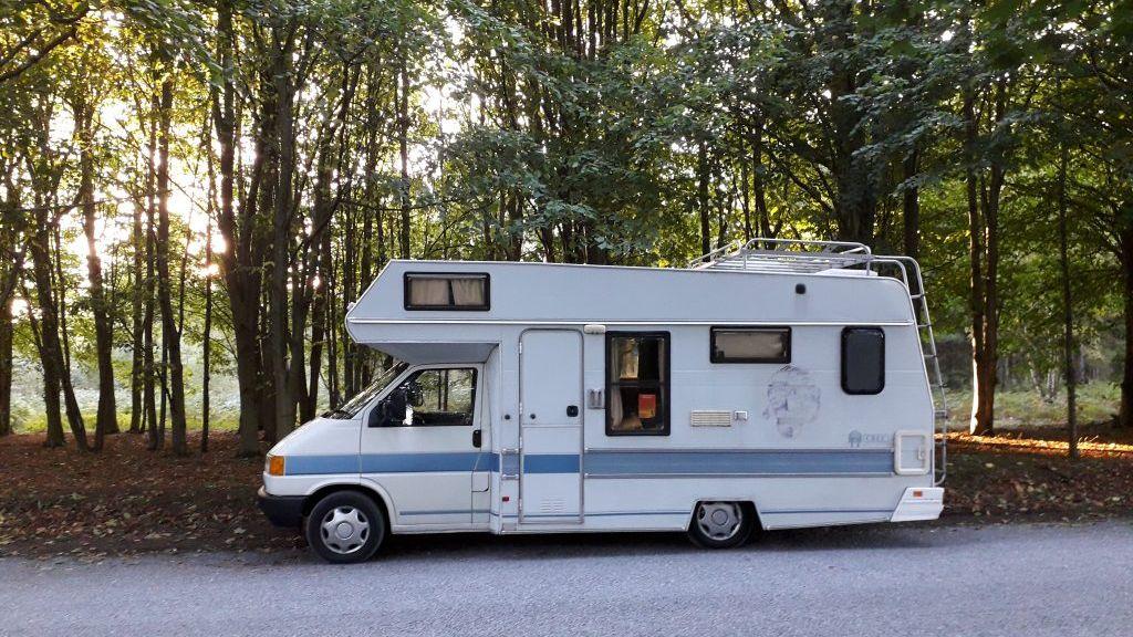VW T4 Cree motorhome parked beside Rendlesham Forest, Suffolk
