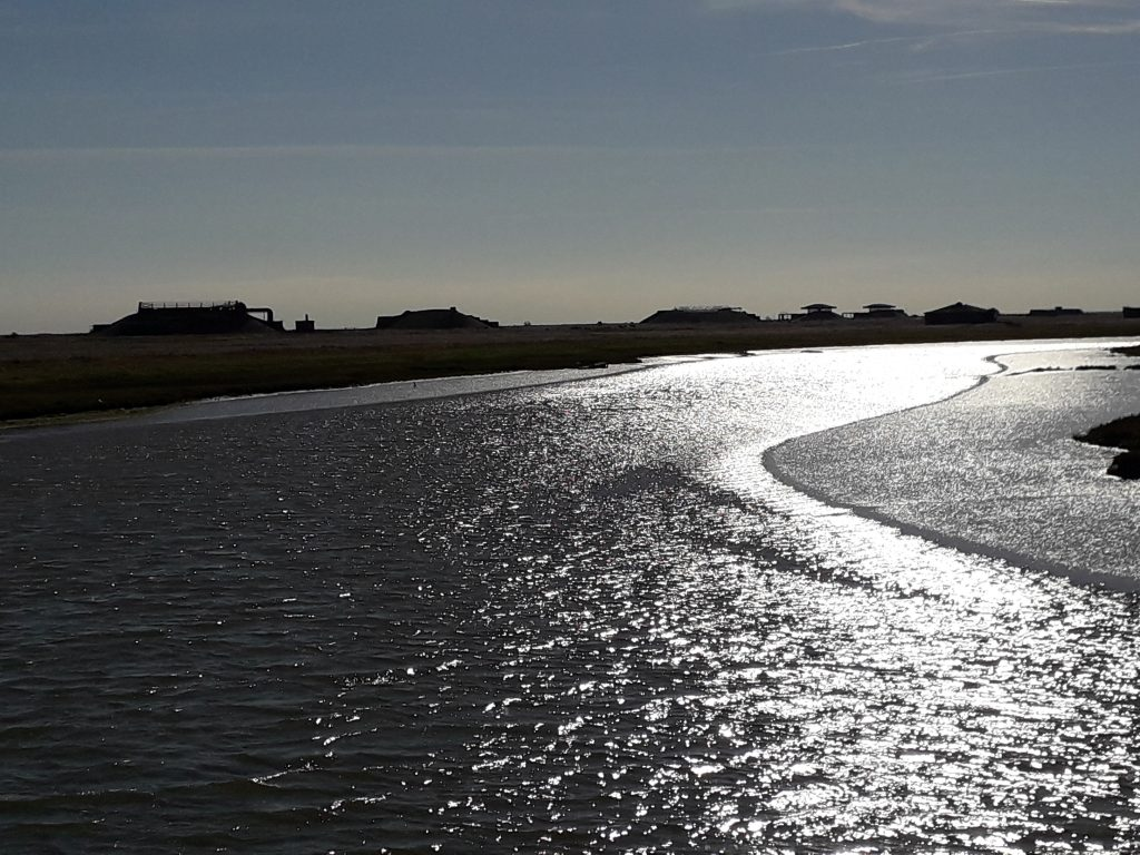 Orford Ness across the river Ore