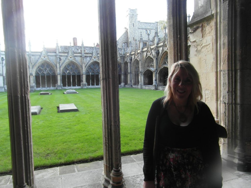 Trudi in the cloisters at Canterbury Cathedral