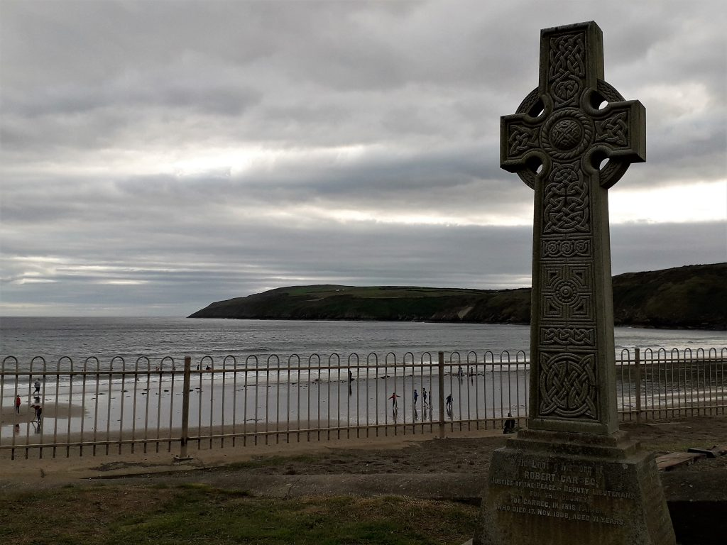 Celtic cross in a church graveyard at Aberdaron, Wales