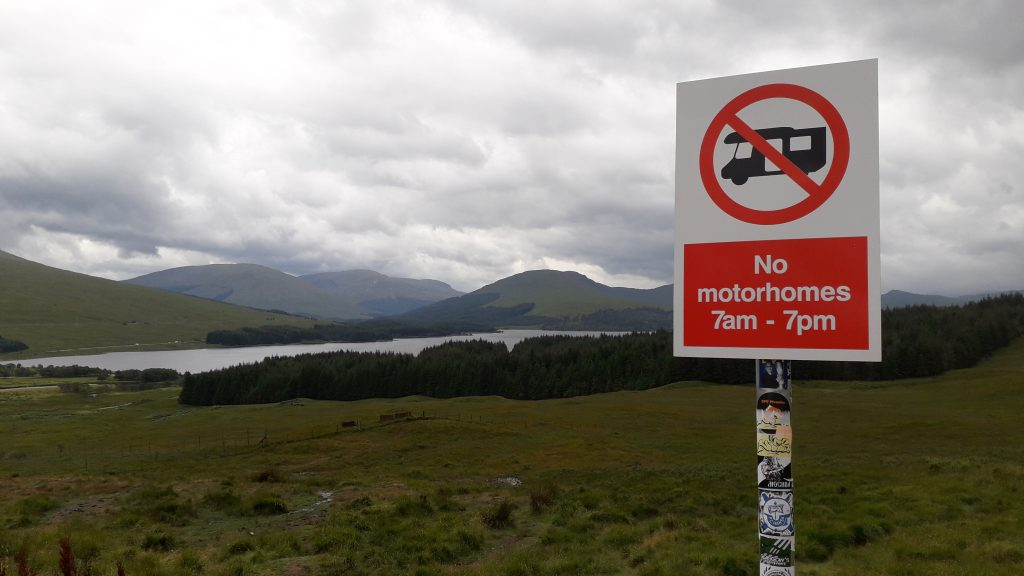 No motorhomes sign in Scotland