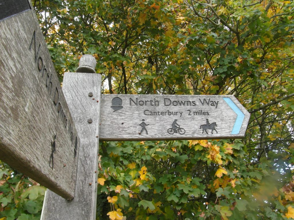 sign along the Pilgrims' Way to Canterbury Cathedral