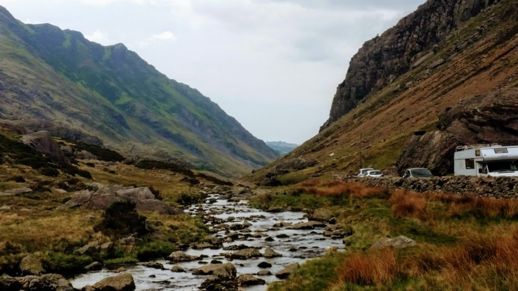 Cree by stream along Llanberis Pass in Snowdonia