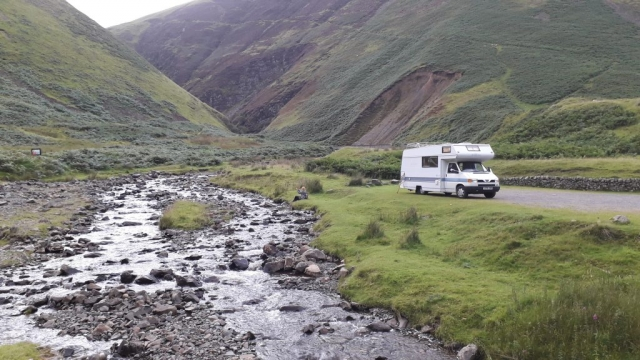 VW T4 motorhome by the river Linn, Scotland