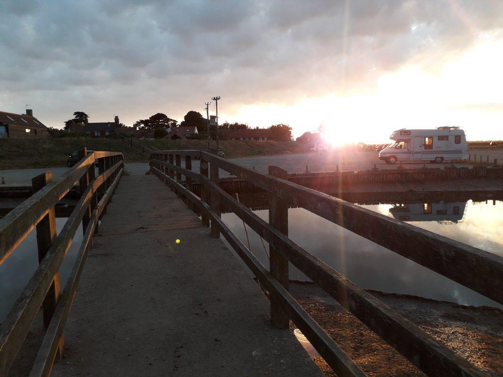 VW Cree by the crabbing bridge at Walberswick, Suffolk