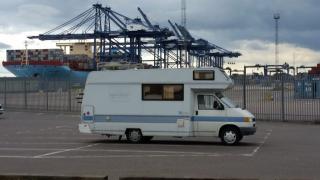 VW motorhome parked at Felixstowe Docks, Suffolk