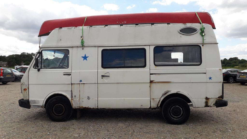 Vintage VW LT35 campervan at Dunwich