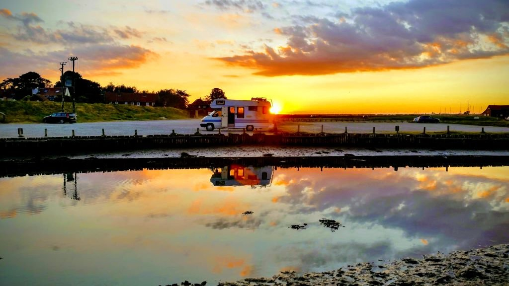 VW Cree motorhome in sunset at Walberswick, Suffolk