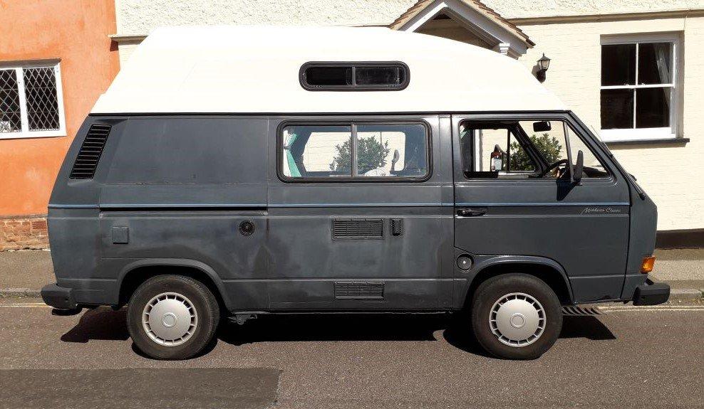 VW T3 campervan seen at Lavenham, Suffolk