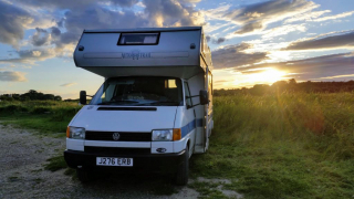 VW Cree motorhome parked up in sunset