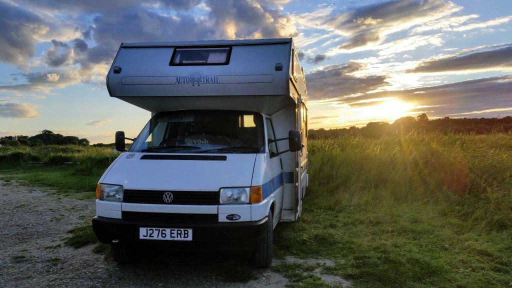 VW Cree motorhome in sunset
