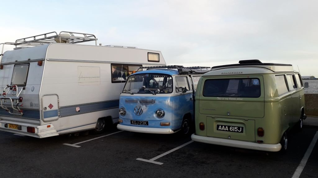 VW Cree and 2 classic campervans at Shotley in Suffolk