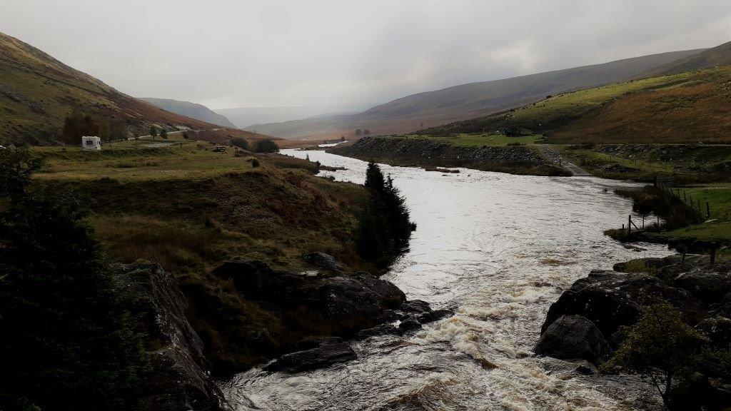 View from Claerwen Dam in the Elan Valley, Wales