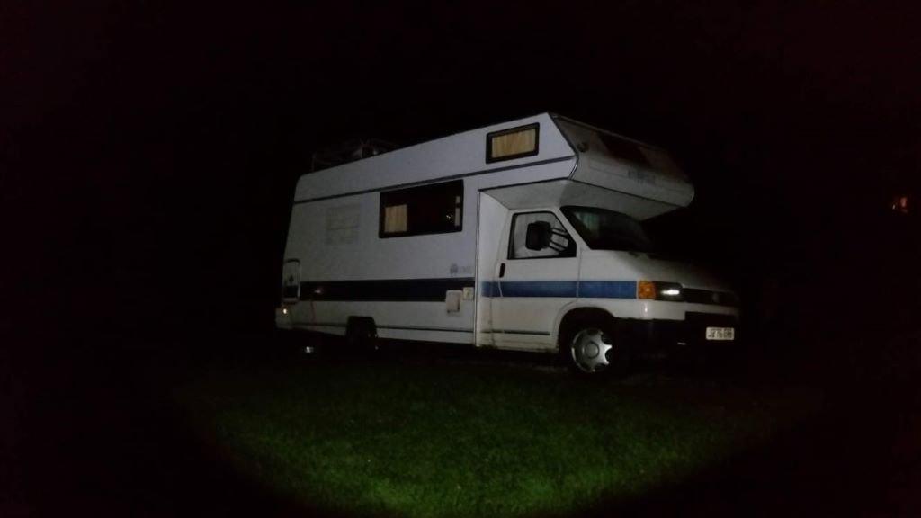 VW Cree campervan in the dark
