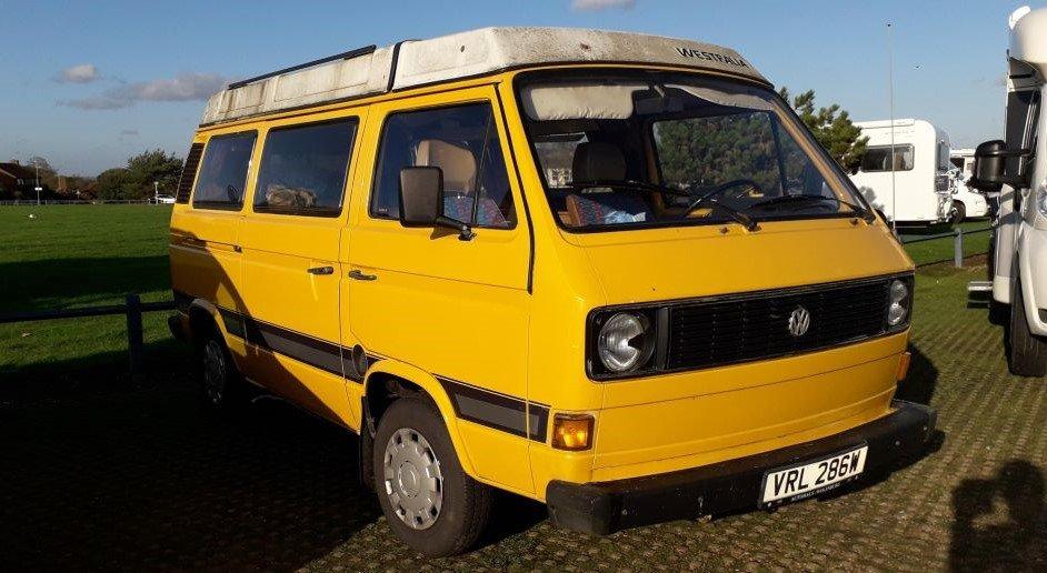 yellow VW T3 campervan at Old Felixstowe