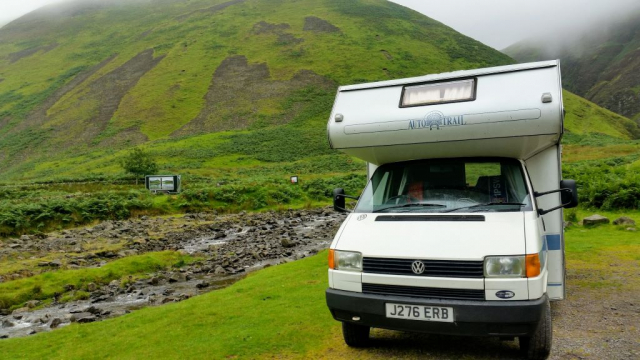 VW T4 motorhome parked at Grey Mare's Tail, Moffat Hills, Scotland