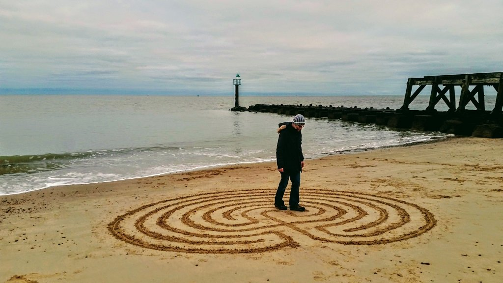 Hobo Gav created and then walked his own labyrinth on the beach