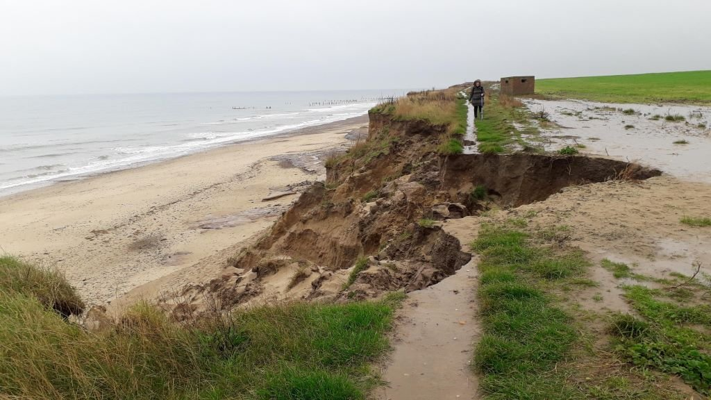 the crumbling coastline at Happisburgh, Norfolk
