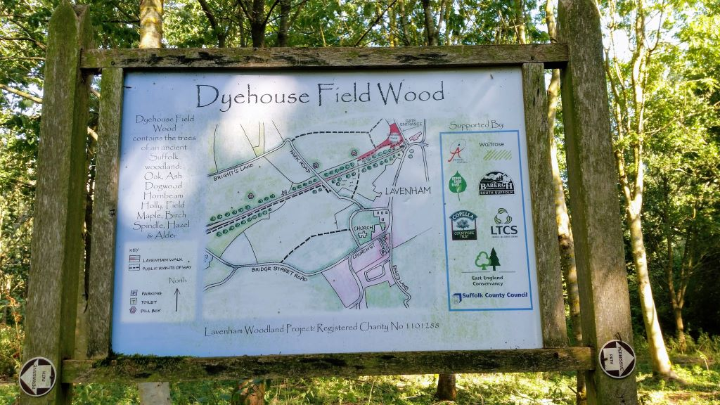 Sign and map of Dyehouse Field Wood, Lavenham