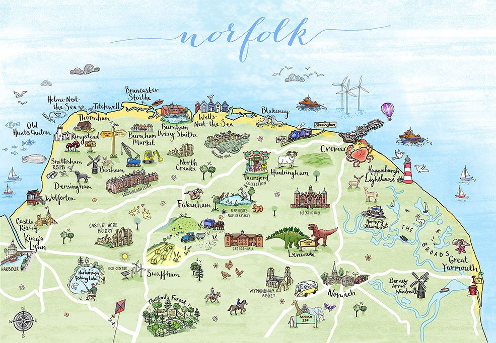Map of Norfolk by Hand Drawn Maps