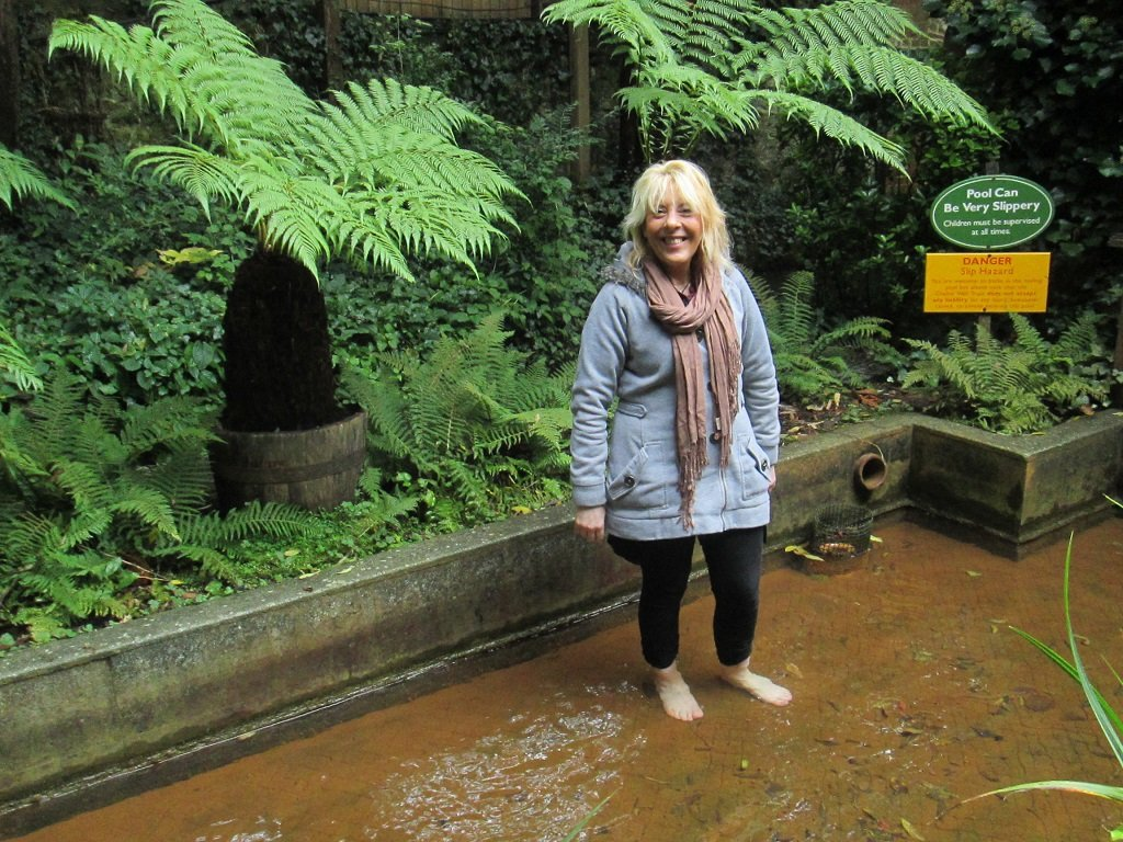 Hobo Trudi in one of the pools at the Chalice Well, Glastonbury
