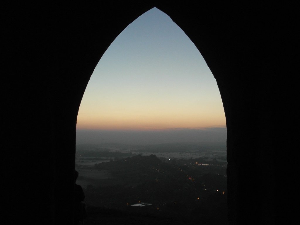 Glastonbury at dusk, as seen from the Tor