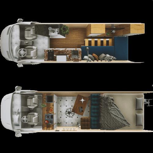 van conversion interior - aerial view