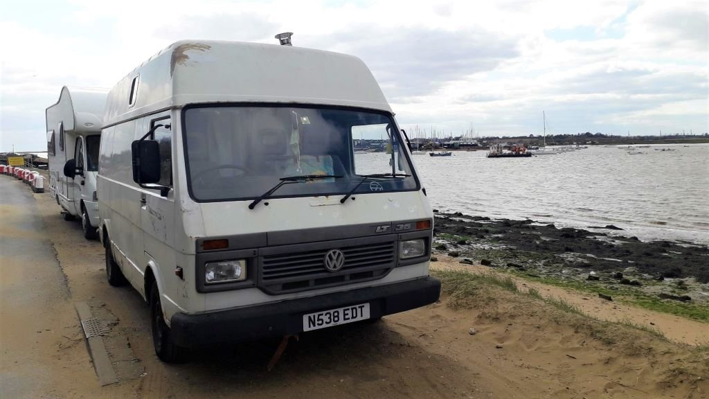VW LT 35 campervan at Bawdsey Quay, Suffolk