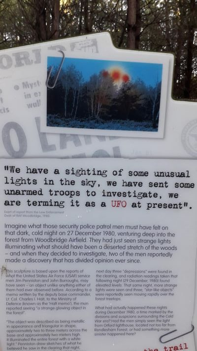 sign on the UFO trail at Rendlesham Forest