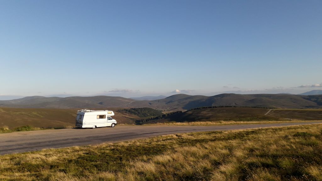 VW-motorhome in the Cairngorms, Scotland