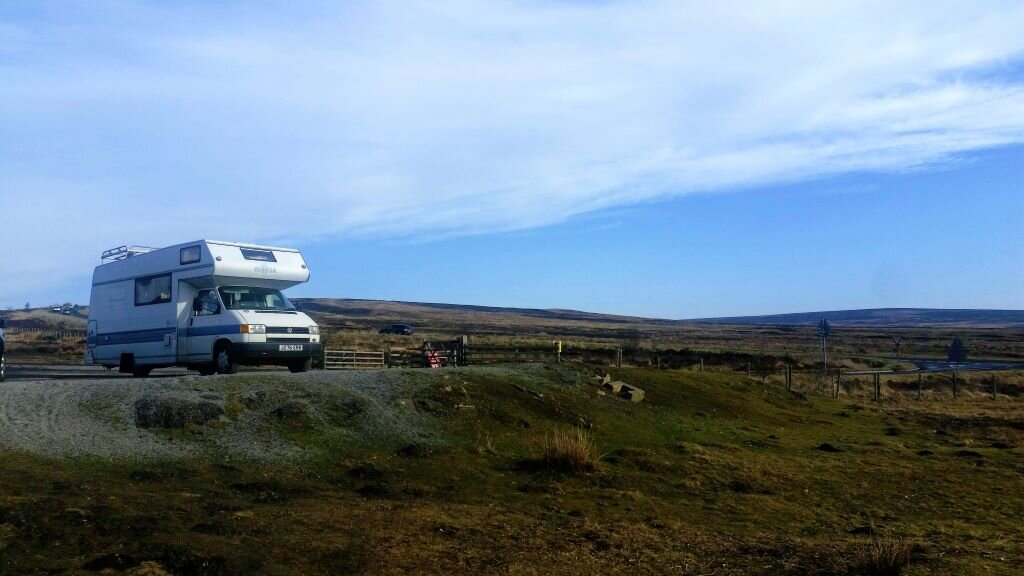 VW motorhome parked up on the North York Moors
